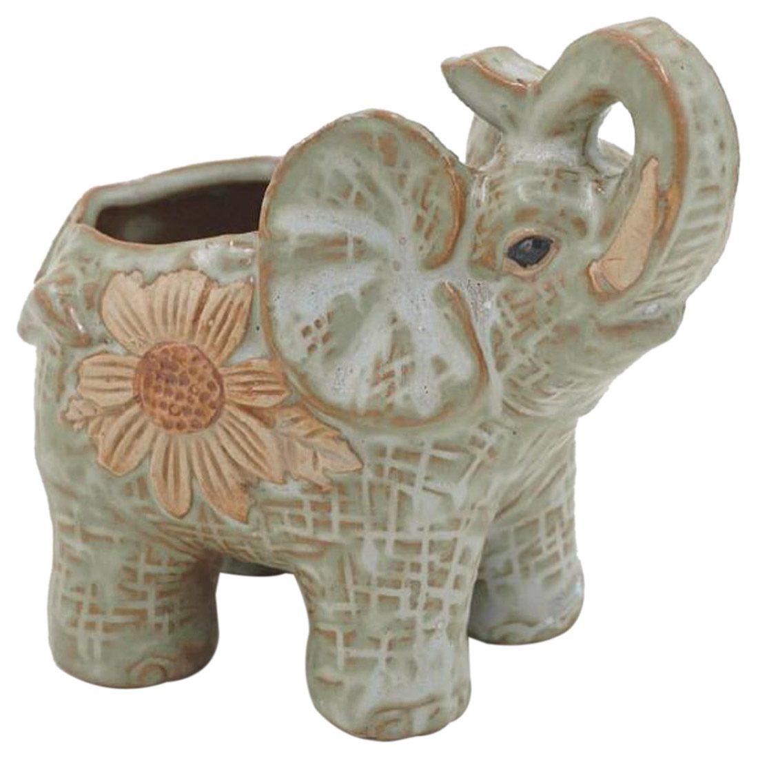 HLZS-Ceramic Mini Elephant Cacti Succulent Plant Pot Flower Planter Garden Home Decor