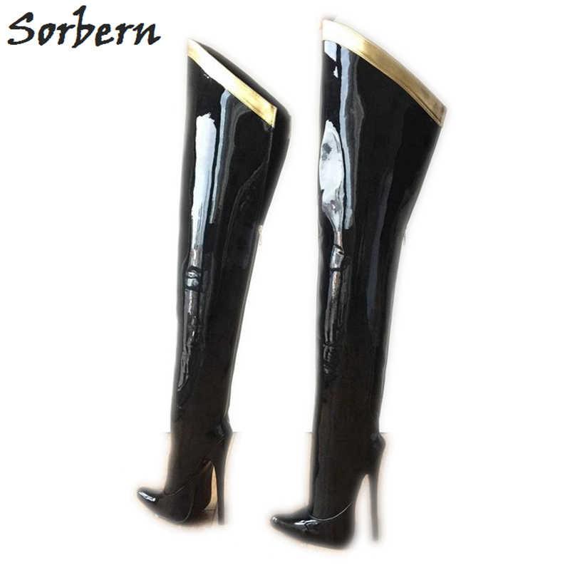 1fc2ddb52656 Sorbern 18Cm Stiletto Over The Knee Boots For Women Custom Leg Calf Size Hard  Shaft Gold