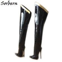 Sorbern 18 ซม.Stilettoมากกว่ารองเท้าบู๊ตเข่าสำหรับผู้หญิงที่กำหนดเองขาลูกวัวขนาดHard Shaft Gold Ribbon Trimกลาง Thigh Bootสิทธิบัตรสีดำ