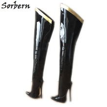 Sorbern 18Cm Stiletto Over The Knee Boots For Women Custom Leg Calf Size Hard Shaft Gold Ribbon Trim Mid Thigh Boot Patent Black