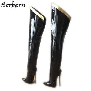 Image 1 - Sorbern 18Cm Stiletto Over The Knee Boots For Women Custom Leg Calf Size Hard Shaft Gold Ribbon Trim Mid Thigh Boot Patent Black