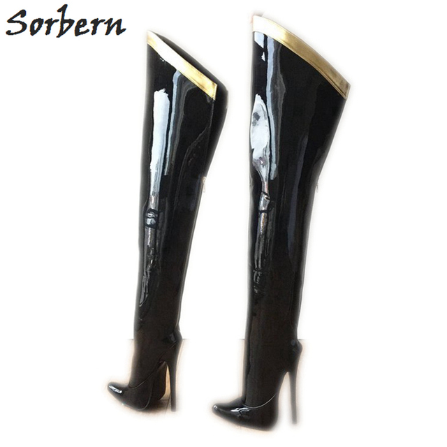 Sorbern 18Cm Stiletto Over The Knee Boots For Women Custom Leg Calf Size Hard Shaft Gold Ribbon Trim Mid Thigh Boot Patent Black