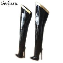 Sorbern 18cm stiletto sobre o joelho botas para mulheres personalizado perna tamanho bezerro eixo duro fita de ouro guarnição mid coxa bota patente preto