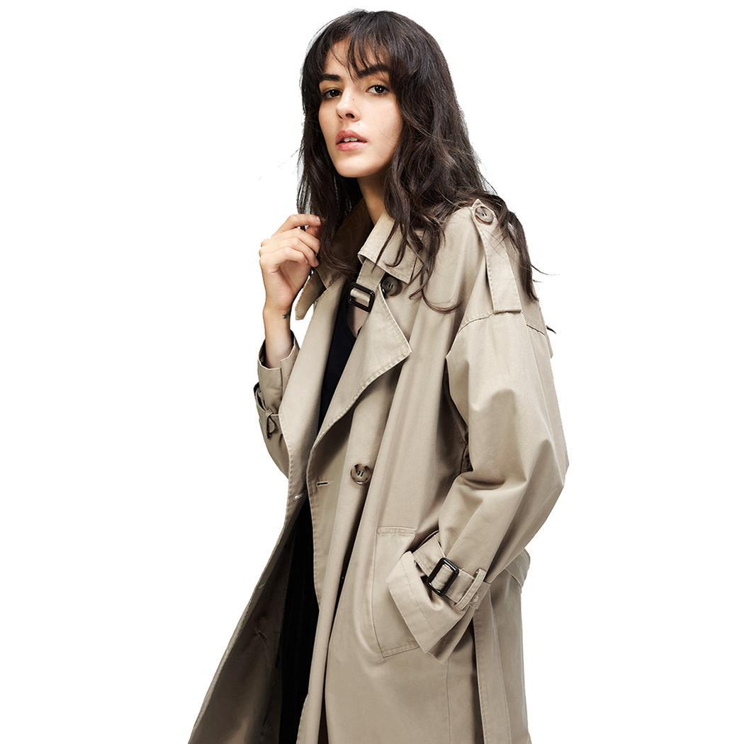 Women Casual Long Sleeve Turn-down Collar Solid Side Calf Length Button Split Loose   Trench   Coat With Belt