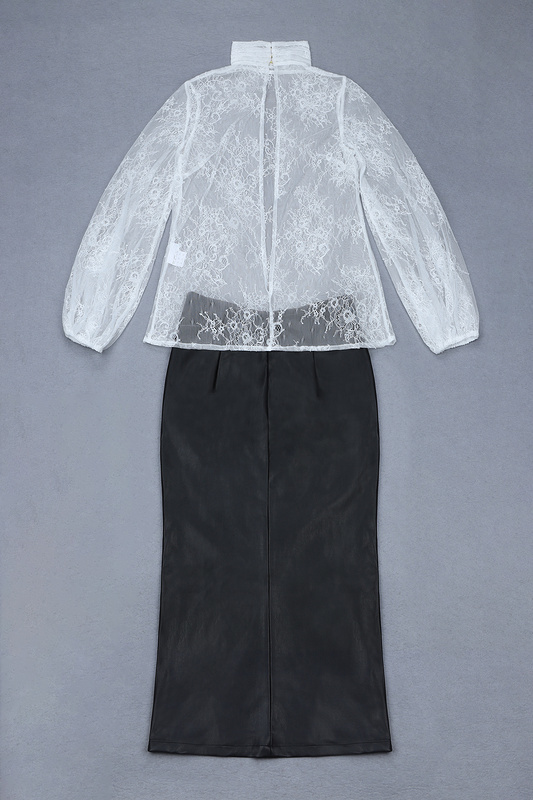 En Dentelle Pièces Femmes Manches Blanc 2 Haute Cuir Élégant Ouvert Longues À Robe De Jupe Tops Qualité Fourche Soirée AFwqXwP5x