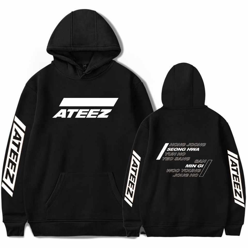 ATEEZ Kpop 까마귀 인쇄 후드 여성 남성 스웨터 의류 2019 하라주쿠 캐주얼 ATEEZ 후드 Kpop 스웨터 Kpop 의류