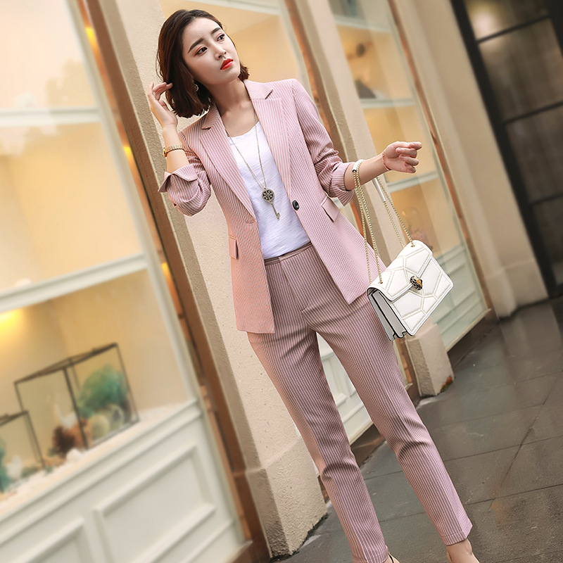 Autumn And Winter Casual Long Section Composite Fabric Small Jacket Long-sleeved Fashion Striped Suit Slim Thin Women's Suit