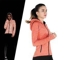 Women Running Jacket Long sleeved Hooded Sport Jackets Yoga Gym Workout Fitness Zipper Outerwear jogging Coats Sportswear
