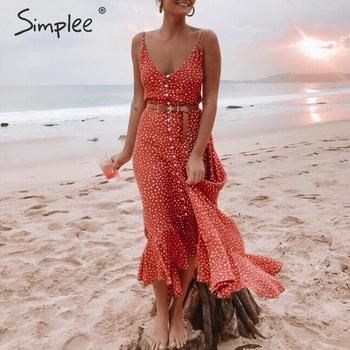 fe1be92664134 Simplee Zarif Polka dot boho kadın midi yaz elbisesi Seksi v yaka askı  düğme evaze elbise Kadın baskı plaj vestidos