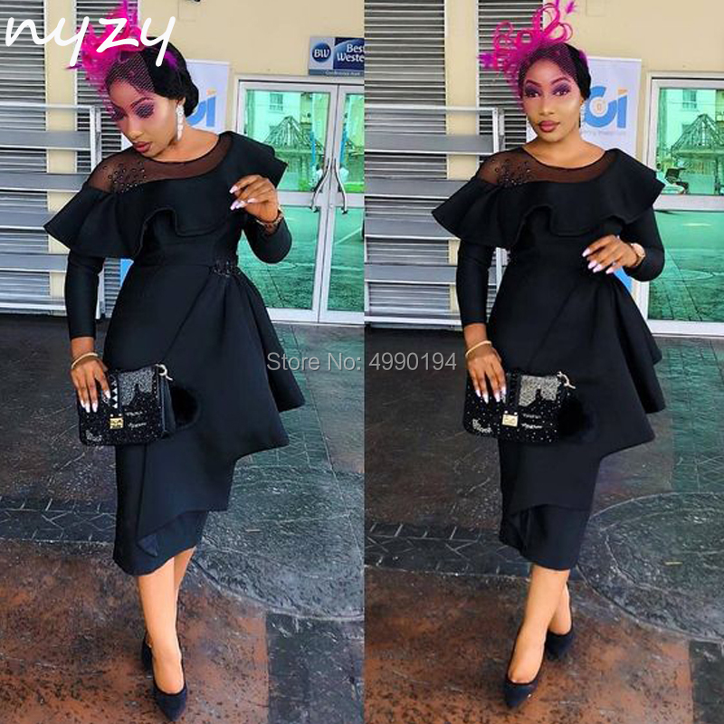 NYZY C74 Black Robe Cocktail Dresses Long Sleeves Formal Dress Wedding Party Dress Guest Wear vestido coctel Church Suits