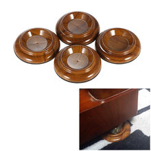 4 stks/set Piano Caster Cups Dubbele Ronde Acryl Upright Piano Caster Cups w/Rose Hout Patroon & EVA Anti -slip Mat(China)