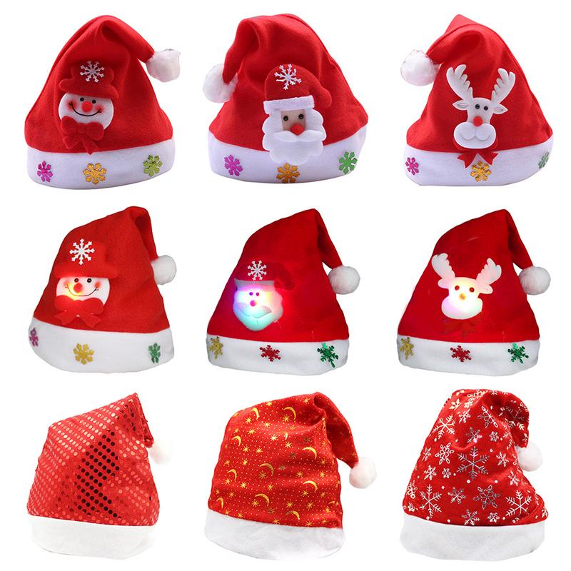 2018 New Cute Unisex Christmas Elk Red Hat Soft Warm Children Santa   Beanie   Glowing Christmas Caps For Child/Adult Drop Shipping