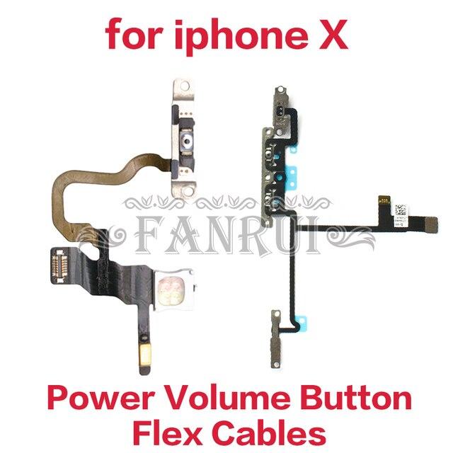 Güç Düğmesi Açık Kapalı Flex Kablo ile iPhone X Için Sessiz Ses Anahtarı Konektörü Şerit Parçaları Cep Telefonu Flex Kabloları