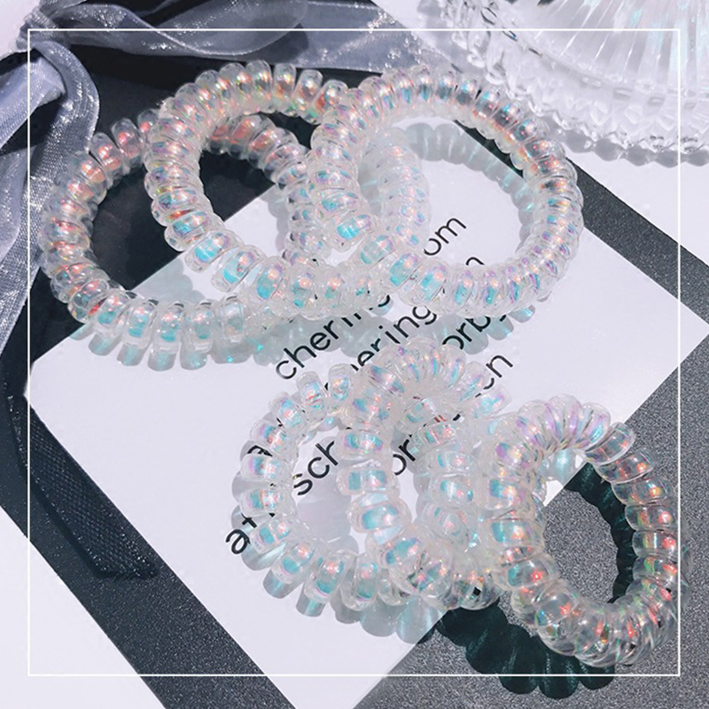 Fashion 1PC/2PCS Acrylic Seaside Gifts Pink Blue Adjustable Exotic Fantasy Wood Transparent Elastic Telephone Line Hair Rope
