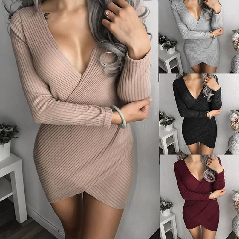 Women Deep V-neck Cross-over Collar Casual Female Vestido Solid Color Autumn Winter Full Sleeve Bodycon Sexy Party Mini Dress