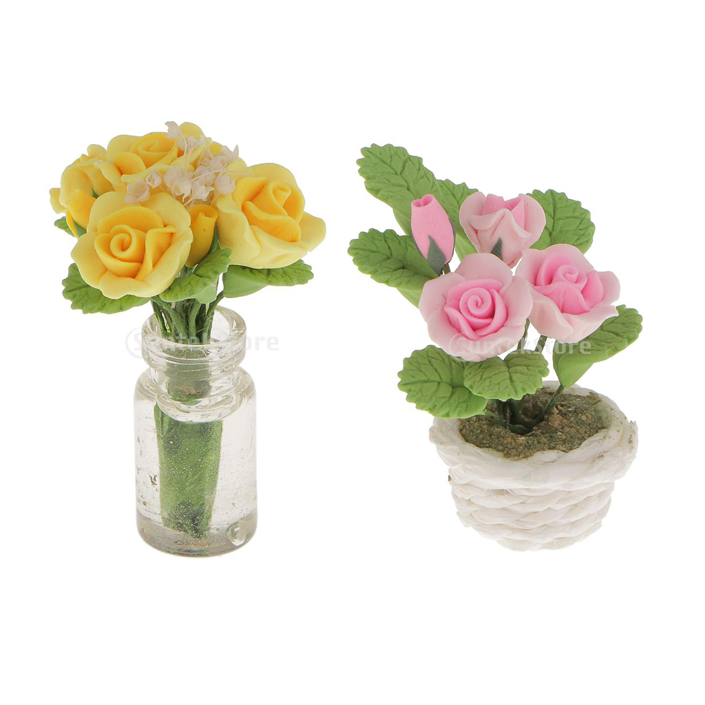 1:12 doll house miniature clay flower yellow//pink ros