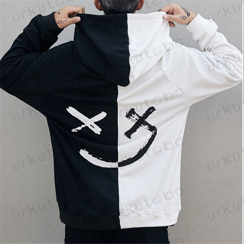 Dropshipping Suppliers Men Hoodies Sweatshirts Smile Print Headwear Hoodie Hip Hop Streetwear Clothing Us size Plus Size 3XL худи xxxtentacion