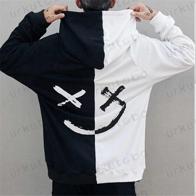 Dropshipping dostawcy mężczyźni bluzy bluzy uśmiech drukuj nakrycia głowy bluza z kapturem hiphopowy sweter odzież usa rozmiar Plus rozmiar 3XL