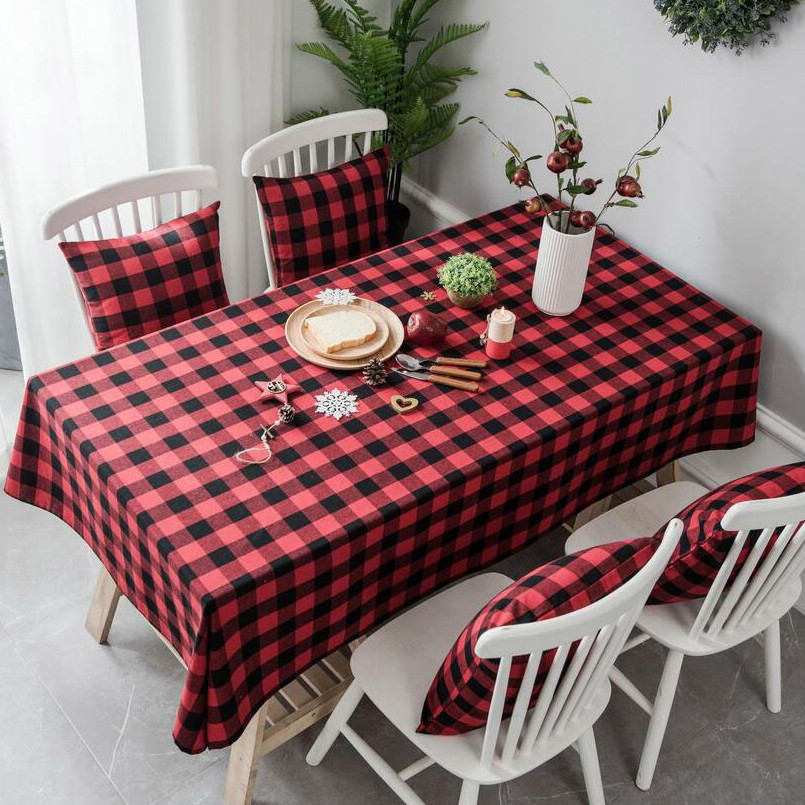 New Tablecloth Cotton And Linen Plaid Table Cloth For Home Decoration Can Be Custom Made Rectangular Tablecloth For Dinner Table in Tablecloths from Home Garden