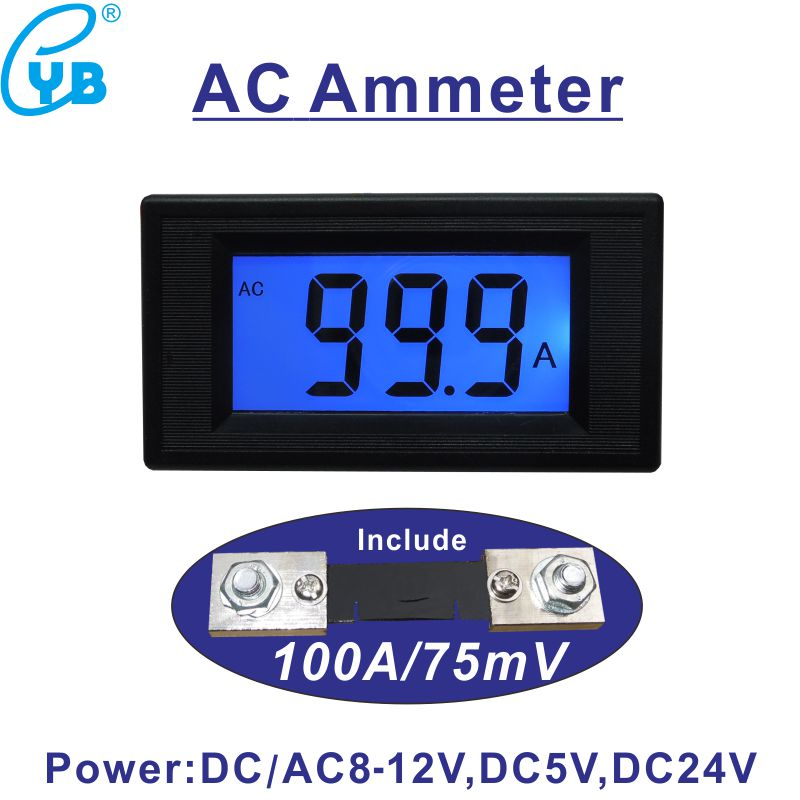 Nice Ac 0-50a Ammeter Include Shunt 50a 75mv Ac Current Meter Ampere Panel Meter Lcd Digital With Blue Backlit Current Sensor Ac 50a Measurement & Analysis Instruments