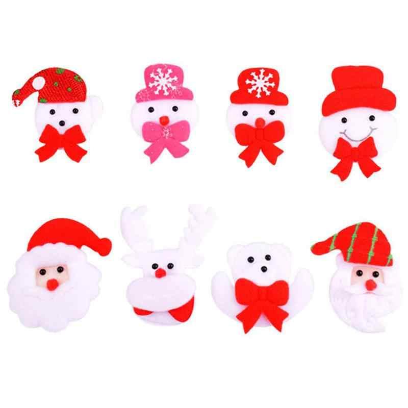 Regalo de Navidad LED broche luz luminosa alfiler broches muñeco de nieve ciervo muñeca decoración de fiesta