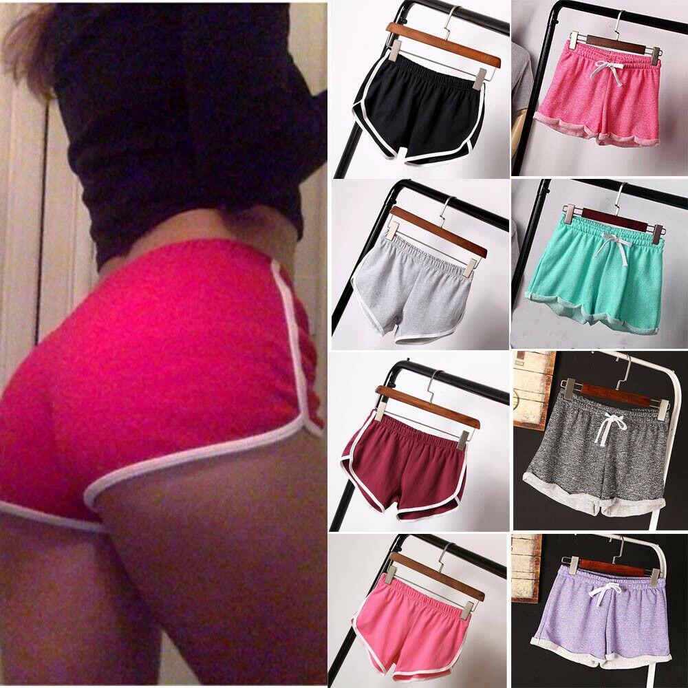 Lady Girls Summer Waistband Casual Shorts Sports Shorts Gym Workout Yoga Shorts Fashion Sexy Women Solid Shorts Multi Colors