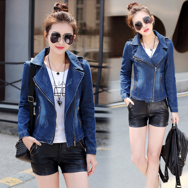 New Year Korean Long Sleeve Fashion Denim Jacket Jeans Jacket Women's Basic Denim Jackets Jeans Jaqueta Melissa S M L