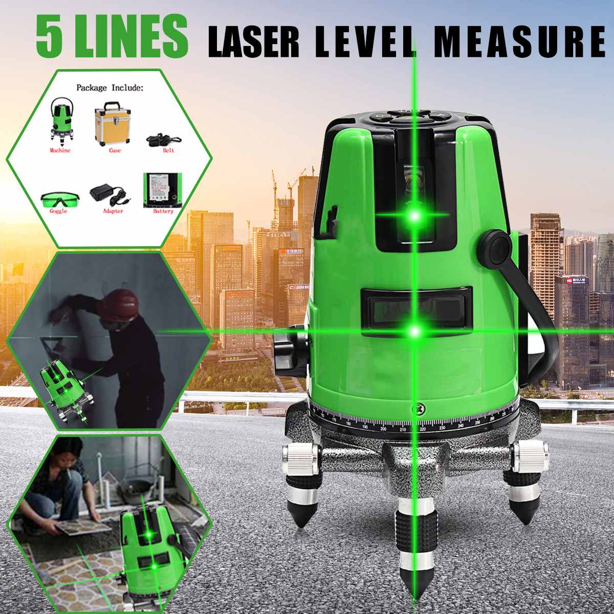 цены на 3D 5 Lines 6 Points Laser Level Measure Automatic Self Leveling 360 Vertical Horizontal Green Cross Line Laser Diagnostic Tools