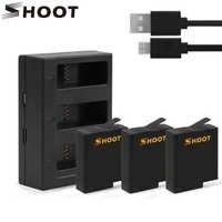 SHOOT para la batería de GoPro 7 con tres/Puertos duales cargador USB para GoPro Hero 7 6 5 negro Cámara Go Pro 7 5 accesorio de la Cámara de Acción