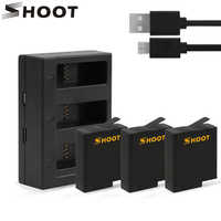 SHOOT for GoPro 8 Battery with Three/Dual Ports USB Charger for GoPro Hero 8 7 6 5 Black Camera Go Pro 7 Action Camera Accessory