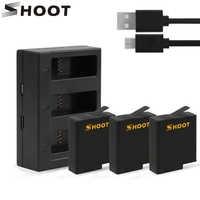 SHOOT for GoPro 8 bateria z trzema/podwójny port usb ładowarka do GoPro Hero 8 7 6 5 czarna kamera Go Pro 7 akcesoria do kamery akcji