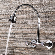 Xueqin 360Rotation Chrome Pull Down Kitchen Sink Spray Faucet Wall Mounted Mixer Tap Polished Chrome Modern Dual Handle Cold Hot