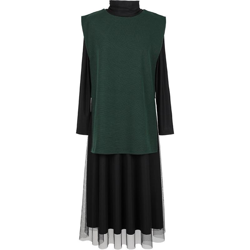 Robe Pour Nouvelle Patchwrok Maille Mode Col Deat Pièces D'hiver Tricot 2018 Manches Wc34401l Black blue Roulé Vêtements Femmes Et green Automne De Deux Plein C8TnZ