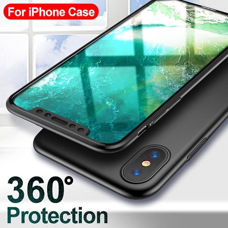 5d1c2e42aa3 360 funda protectora caja del teléfono para iPhone X XS X 7 7 6 s 6 Plus  caso completo con vidrio templado duro cubierta para iPhone 5 5S 6 8 7 caso  Plus