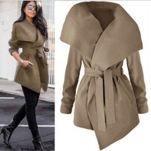 2018 Autumn Women Solid Lapel Belt  Trench Coat  Irregular Lace Up Outerwear Sashes Adjustable Waist Cardigan Coat Windbreaker