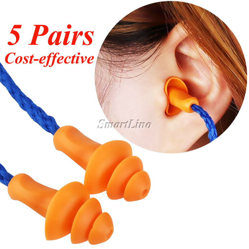 Workplace Safety Supplies Ear Protector 5 Pairs Reusable Soft Silicone Corded Ear Pugs Noise Reduction Earplugs Ear Protector Earmuff Workplace Safety For Sleeping Modern And Elegant In Fashion