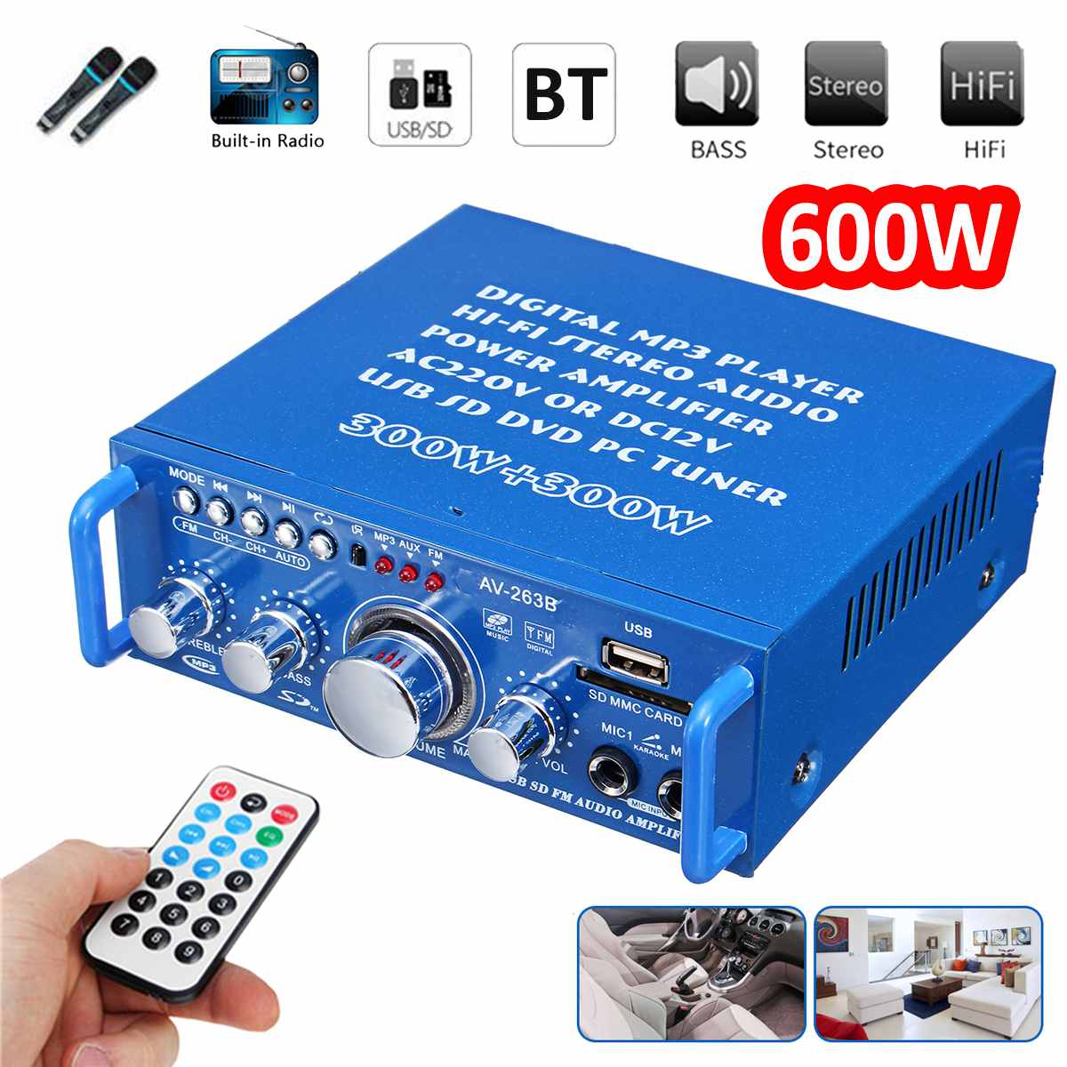 600W HIFI 12V/220V Car Bluetooth Audio Amplifier Stereo Power Music Player FM Radio Home Theater Amplifiers With Remote Control
