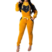 YJSFG HOUSE Sequined Two Piece Set Women Tracksuit Velvet Hoodies+Pants 2 piece set Winter Sweatsuit Female Casual Outfits