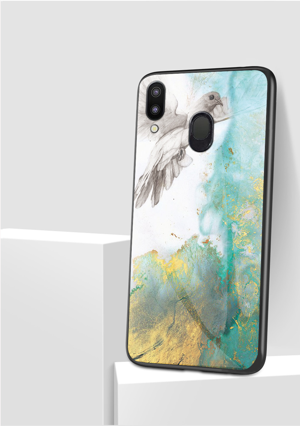 100pcs lot Marble Pattern Tempered Glass Soft TPU Frame Cases for Samsung Galaxy M10 M20 A30