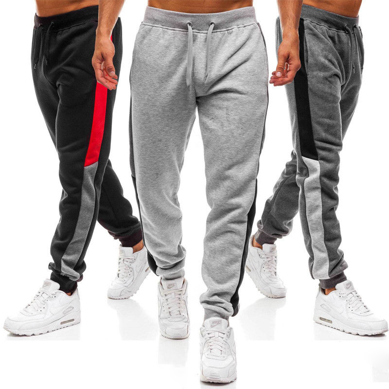 Men Joggers Casual Pants Edge Stitching Design Fashion Pants Male Trousers Men's Gym Muscle Fitness Workout Hip Hop Elastic Pant