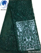 BEAUTIFICAL green sequin lace fabrics for african parties nigerian 2019 fabric 5yards/piece ML1N759