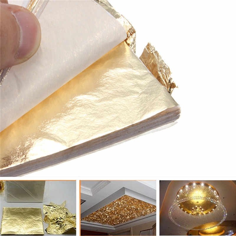 100pcs 9x9cm/14x14cm Gold Foil Decor Golden Copper Leaf Cover Leaves Sheets Gilding DIY Art craft paper Material Accessories