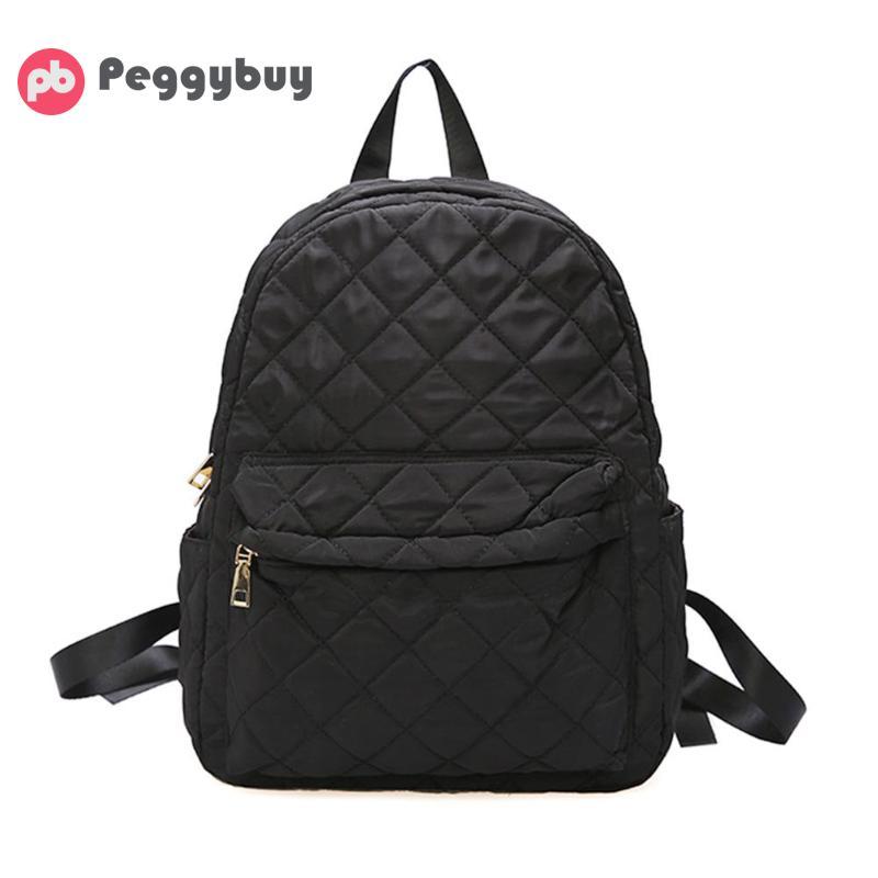 Women Large Capacity Lattice Backpack Preppy Nylon Shoulder School Bags