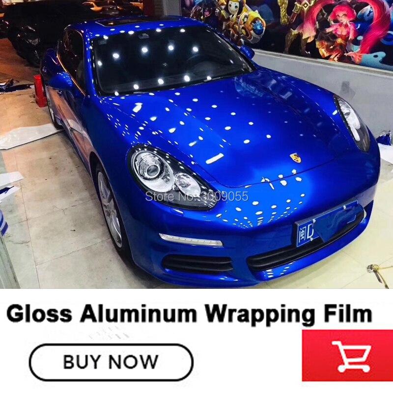 Azul brilho metálico vinil envoltório do Rolo Para O carro 1.52x20 m/Roll 5ftx65ft vinil envoltório de Alta resistência à temperatura