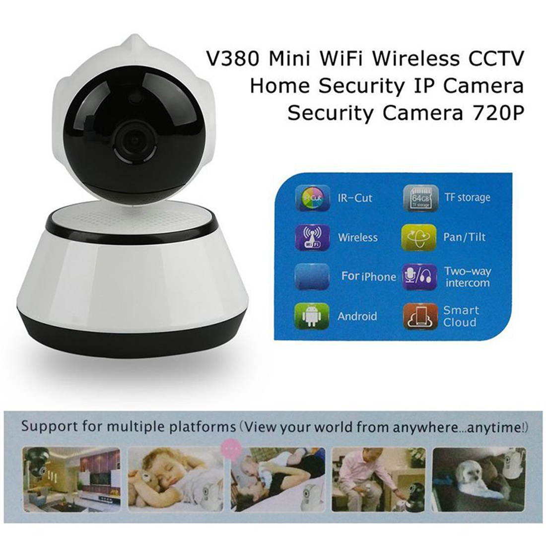 Image 3 - V380 Phone APP HD 720P Mini IP Camera Wifi Camera Wireless P2P Security Camera Night Vision IR Robot Baby Monitor Support(SD C-in Baby Monitors from Security & Protection