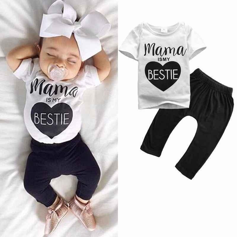 Pudcoco 2018 Mamas Bebek Yenidoğan Bebek Erkek Kız Kısa Kollu Giyim T-shirt Pantolon Kıyafetler 2 ADET Set 0-24 M 0-24