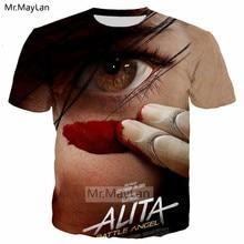 Movie Alita: Battle Angel Eye 3D Print Tshirt Men/women Hipster Crewneck Tee T shirt 90s Boys New Design Cool Tops Clothes 5XL цены онлайн
