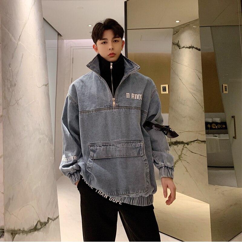 2019 printemps et été modèles Version coréenne fraîche du jeune Couple couture décontracté faux deux pièces Denim pull offre spéciale