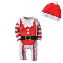 Hot Sale Baby Christmas Rompers Infant Clothes Newborn One Piece Romper +Hat XMAS Jumpsuit Outfits