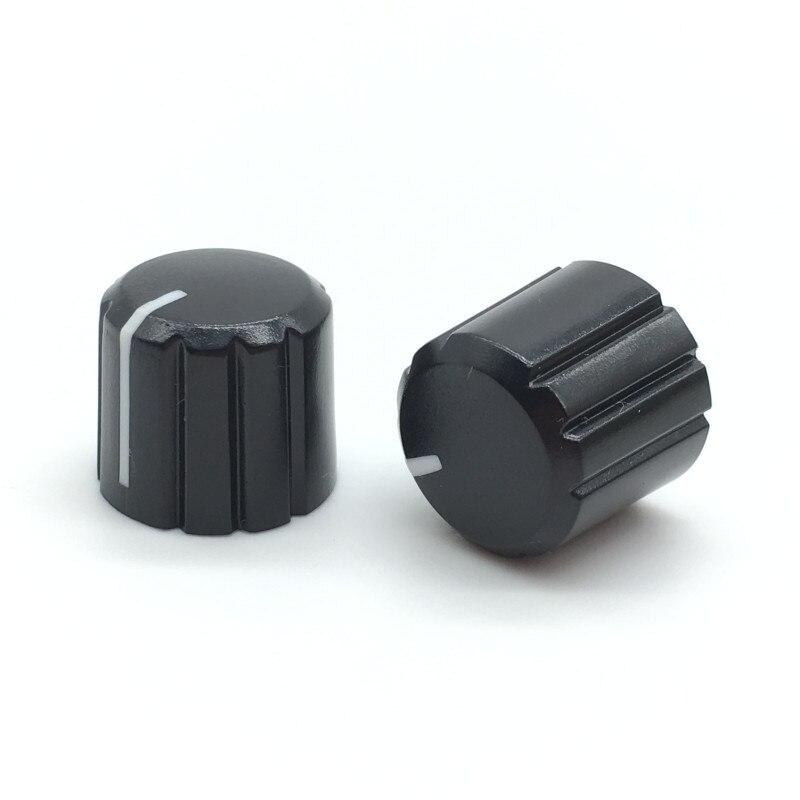 10pcs Potentiometer Switch Roatry Encoder Switch Caps Black Plastic Knob 15x13.5mm Half Shaft Plum Shaft Type